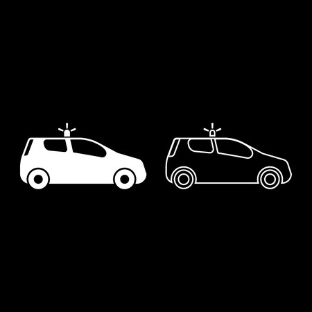 Security car Police car Car with siren icon set white color vector illustration flat style simple image