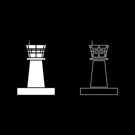 Airport control tower Control tower air traffic icon set white color vector illustration flat style simple image