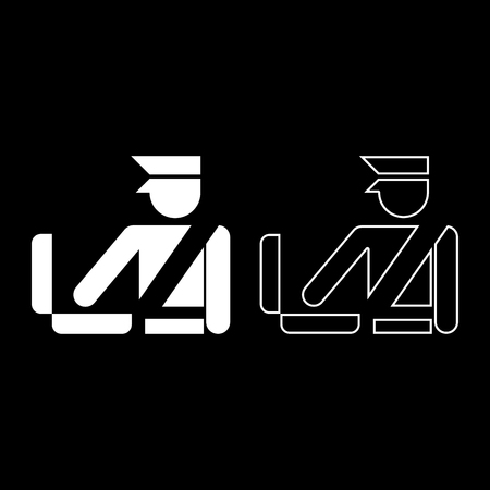 Border control concept Customs officer check baggage Detailed luggage control Baggage control sign icon set white color vector illustration flat style simple image