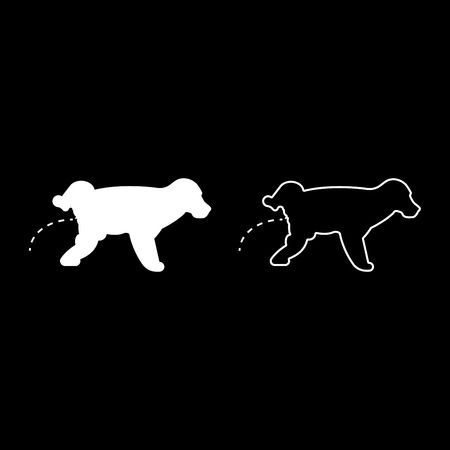 Pissing dog Puppy pissing Pet pissing with raised leg icon set white color vector illustration flat style simple image