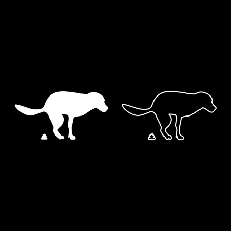 The dog poops icon set white color vector illustration flat style simple image