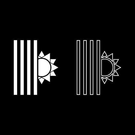 Venetian blind and sun Jalousie close sun Jalousie shutdown light Louver concept Shutter symbols icon set white color vector illustration flat style simple image