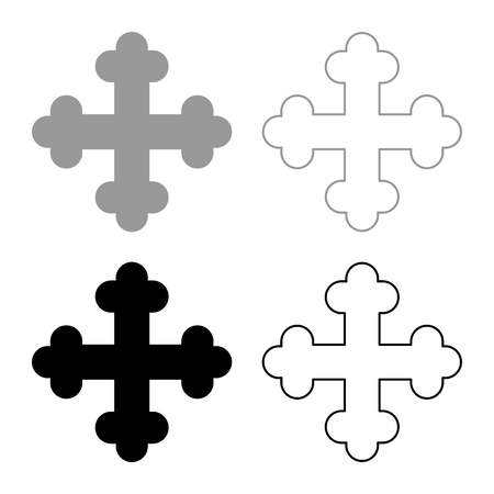 Cross trefoil shamrock Cross monogram Religious cross icon set black grey color vector illustration flat style simple image