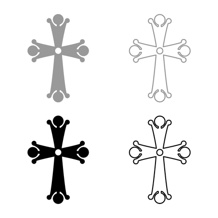 Four pointed cross drop shaped Cross monogram Religious cross icon set black grey color vector illustration flat style simple image