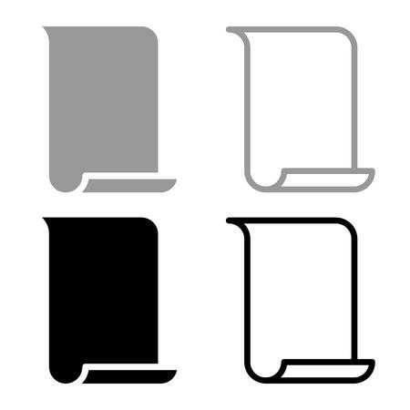 Papyrus paper Parchment paper Manuscript icon set black grey color vector illustration flat style simple image