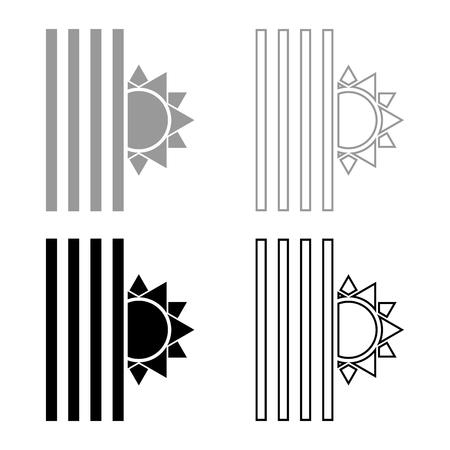 Venetian blind and sun Jalousie close sun Jalousie shutdown light Louver concept Shutter symbols icon set black grey color vector illustration flat style simple image