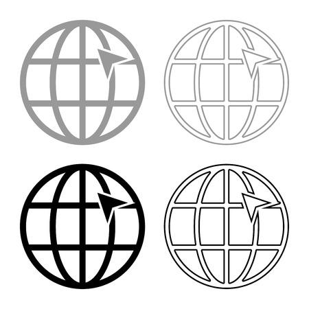 Pfeil auf Erdgitter Globe Internet-Konzept Klicken Sie auf den Pfeil auf der Website-Idee mit dem Website-Icon-Set schwarz graue Farbe Vector Illustration Flat Style simple Image Vektorgrafik