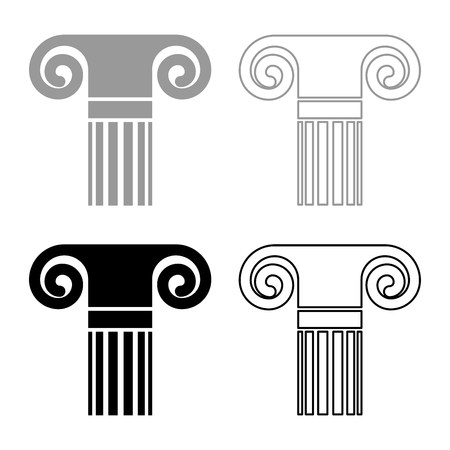Column ancient style Antique classical column architecture element Pillar Greek roman column icon set black grey color vector illustration flat style simple image