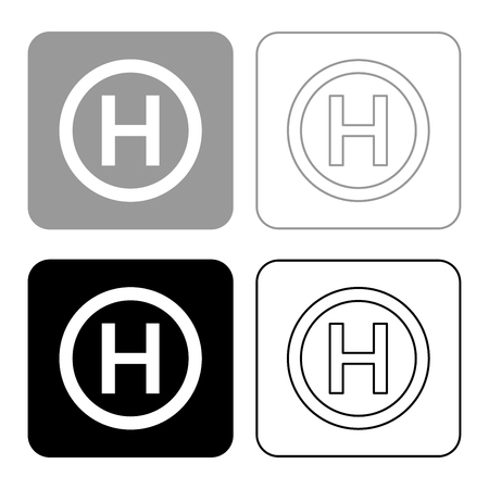 Helicopter landing pad Helicopter place icon set black grey color vector illustration flat style simple image