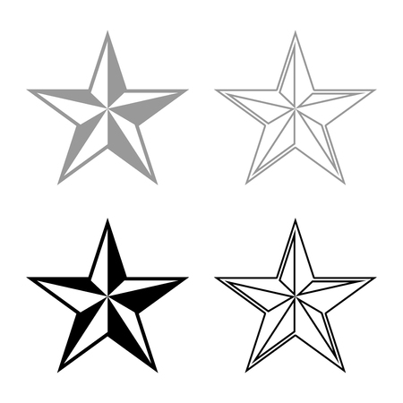 Star five corners Pentagonal star icon set black grey color vector illustration flat style simple image 向量圖像