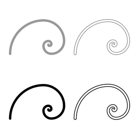 Spiral golden section Golden ratio proportion Fibonacci spiral icon set black grey color vector illustration flat style simple image Vector Illustration