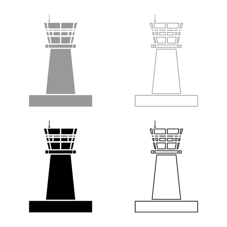 Airport control tower Control tower air traffic icon set black grey color vector illustration flat style simple image Çizim