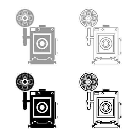 Retro camera Vintage photo camera face view icon set black grey color vector illustration flat style simple image Ilustração