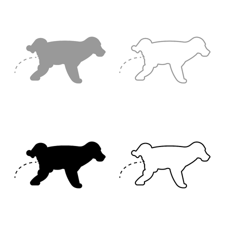 Pissing dog Puppy pissing Pet pissing with raised leg icon set black grey color vector illustration flat style simple image Illustration