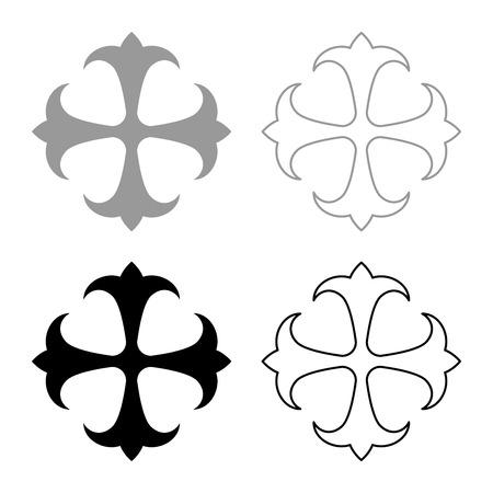 Champ de symbole lily kreen strong Cross monogramme dokonstantinovsky Symbole de l'Apôtre ancre Espoir signe Croix religieuse icon set couleur gris noir illustration vectorielle style plat image simple