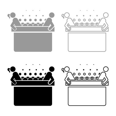Bain à remous chaud avec femme et homme Baignoire Spa avec bulles de mousse Baignoire Relax salle de bain Baignoire spa icon set couleur gris noir illustration vectorielle style plat image simple