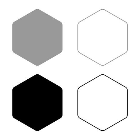 Esagono con angoli arrotondati icon set nero colore grigio illustrazione vettoriale stile piatto semplice image