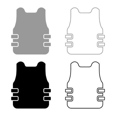 Bullet-proof vest flak jacket icon set black grey color vector illustration flat style simple image