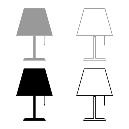 Table lamp Night lamp Clasic lamp icon set black grey color vector illustration flat style simple image