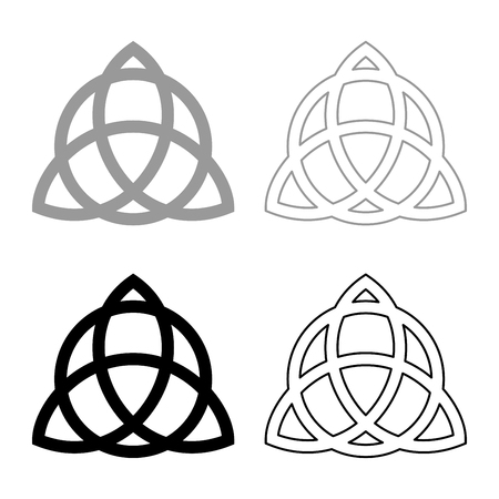 Trikvetr knot with circle Power of three viking symbol tribal for tattoo Trinity knot icon set black grey color vector illustration flat style simple image