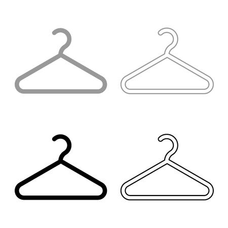 Hanger Clothes hanger icon set black grey color vector illustration flat style simple image Illustration