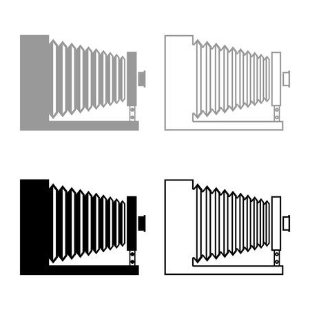Retro camera Vintage photo camera side view icon set black grey color vector illustration flat style simple image
