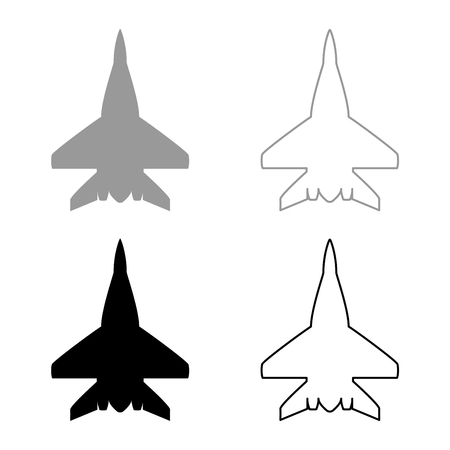 Fighter plane Military fighter airplane icon set black grey color vector illustration flat style simple image