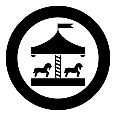 Carousel roundabout merry-go-round Vintage merry-go-round icon in circle round black color vector illustration flat style simple image
