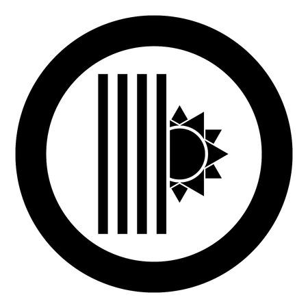Venetian blind and sun Jalousie close sun Jalousie shutdown light Louver concept Shutter symbols icon in circle round black color vector illustration flat style simple image
