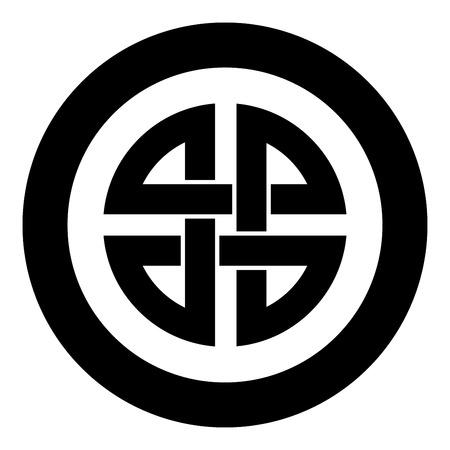 Bouclier de noeud symbole de protection ancienne icône symbole en cercle rond couleur noire illustration vectorielle image simple style plat