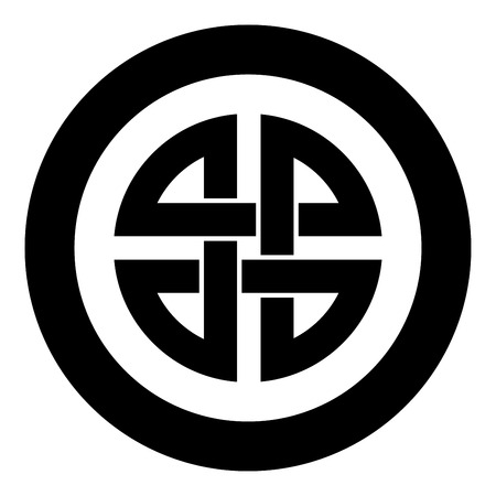 Knot shield symbol of protection Ancient symbol icon in circle round black color vector illustration flat style simple image
