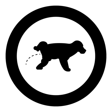 Pissing dog Puppy pissing Pet pissing with raised leg icon in circle round black color vector illustration flat style simple image
