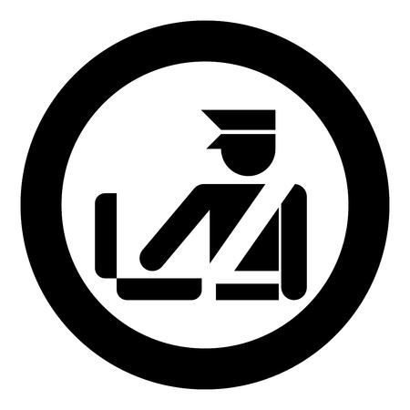 Concepto de control fronterizo oficial de aduanas facturar equipaje Control detallado de equipaje Control de equipaje icono de señal en círculo redondo color negro ilustración vectorial tipo plano simple imagen Ilustración de vector