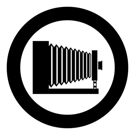 Retro camera Vintage photo camera side view icon in circle round black color vector illustration flat style simple image