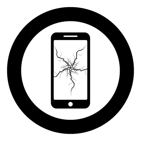 Smartphone with crack on display Broken modern mobile phone Shattered smartphone screen Phone with broken matrix of screen Cell phone with cracked touch screen in center Broken glass telephone icon in circle round black color vector illustration flat style simple image