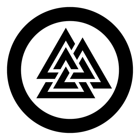 Valknut symbol icon in circle round black color vector illustration flat style simple image Illustration