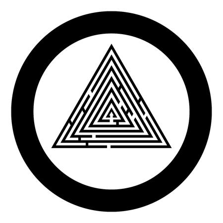Laberinto triangular Laberinto enigma Laberinto enigma icono en círculo de color negro redondo ilustración vectorial tipo plano simple imagen
