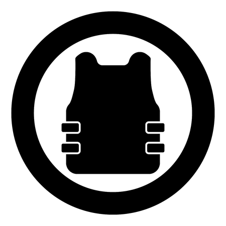Bullet-proof vest flak jacket icon in circle round black color vector illustration flat style simple image