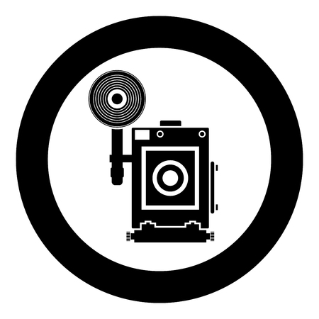 Retro camera Vintage photo camera face view icon in circle round black color vector illustration flat style simple image Ilustração
