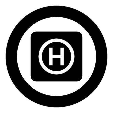 Helicopter landing pad Helicopter place icon in circle round black color vector illustration flat style simple image