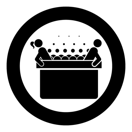 Hot whirlpool with woman and man Spa Bathtub with foam bubbles Bath Relax bathroom Bath spa icon in circle round black color vector illustration flat style simple image