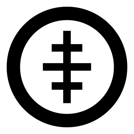 Cross papal roman church icon in circle round black color vector illustration flat style simple image