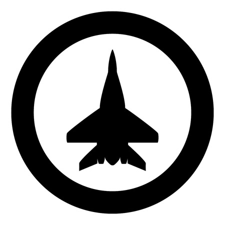 Fighter plane Military fighter airplane icon in circle round black color vector illustration flat style simple image  イラスト・ベクター素材