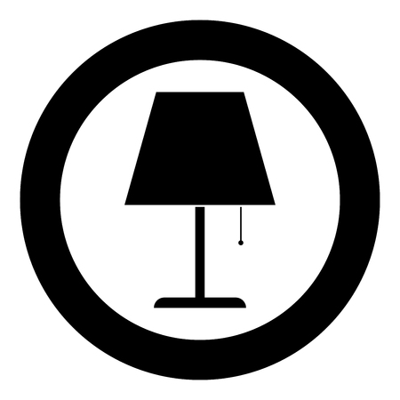 Table lamp Night lamp Clasic lamp icon in circle round black color vector illustration flat style simple image Illustration