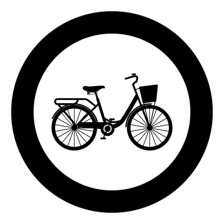 Woman's bicycle with basket Womens beach cruiser bike Vintage bicycle basket ladies road cruising icon in circle round black color vector illustration flat style simple image Çizim
