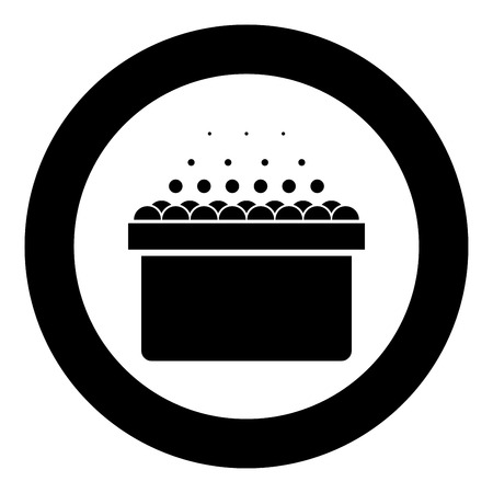 Hot whirlpool Spa Bathtub with foam bubbles Bath Relax bathroom Bath spa icon in circle round black color vector illustration flat style simple image