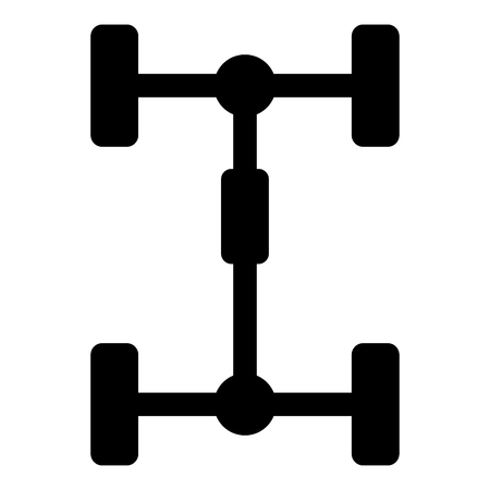 Undercarriage Chassis Carriage for car Vehicle frame icon black color vector illustration flat style simple image Vectores