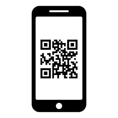 Smartphone with QR code on screen icon black color vector illustration flat style simple image