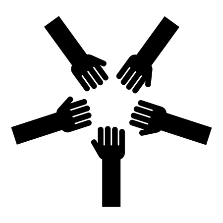 Five hands Group arms Many hands connecting Open palms People putting their hands together Stack hands concept unity icon black color vector illustration flat style simple image Illustration