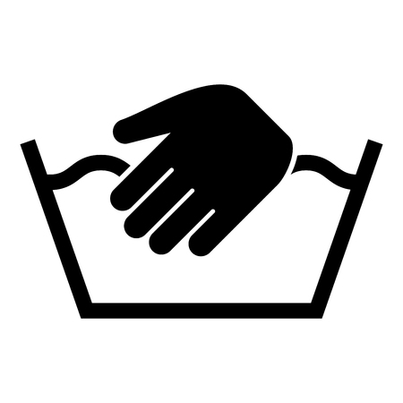 Only manual wash Clothes care symbols Washing concept Laundry sign icon black color vector illustration flat style simple image